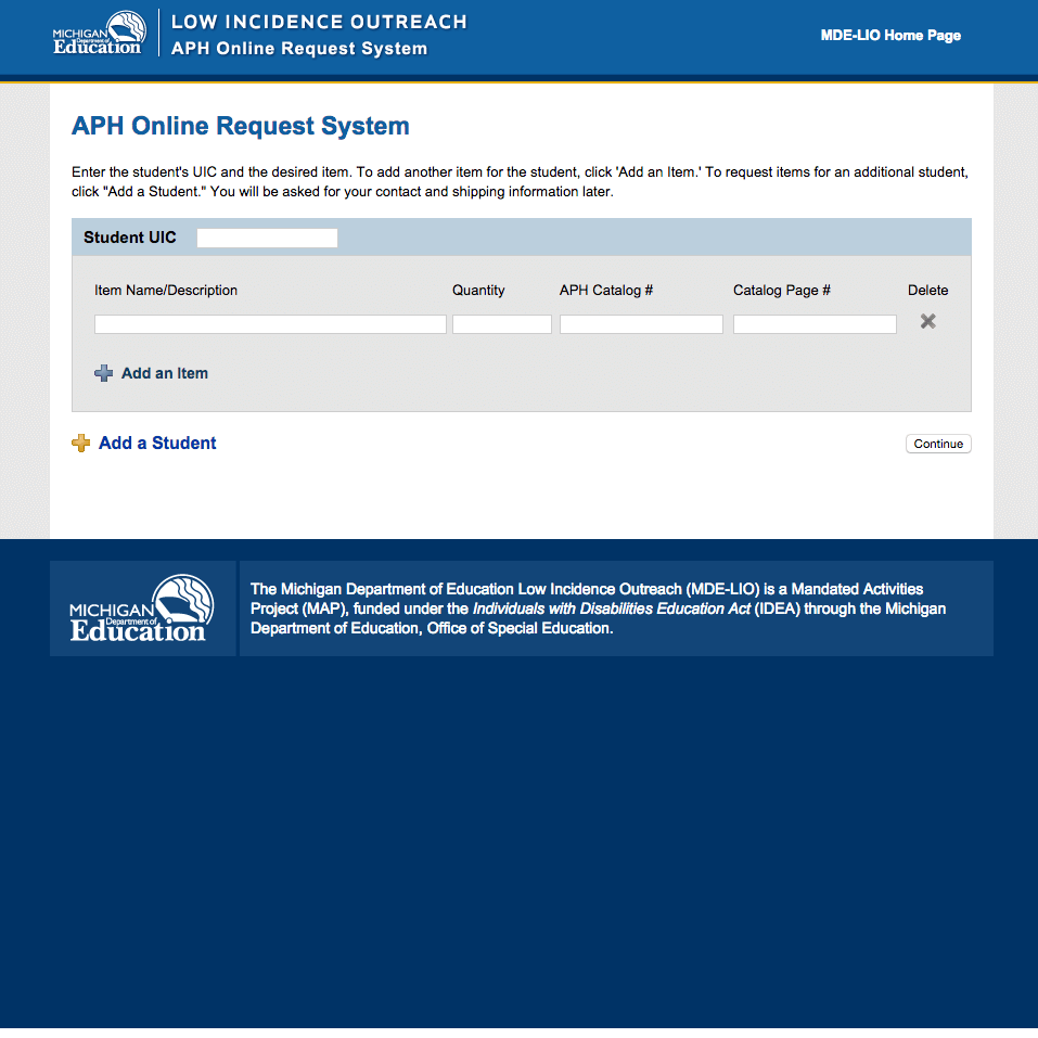 APH Online Request System Home Page
