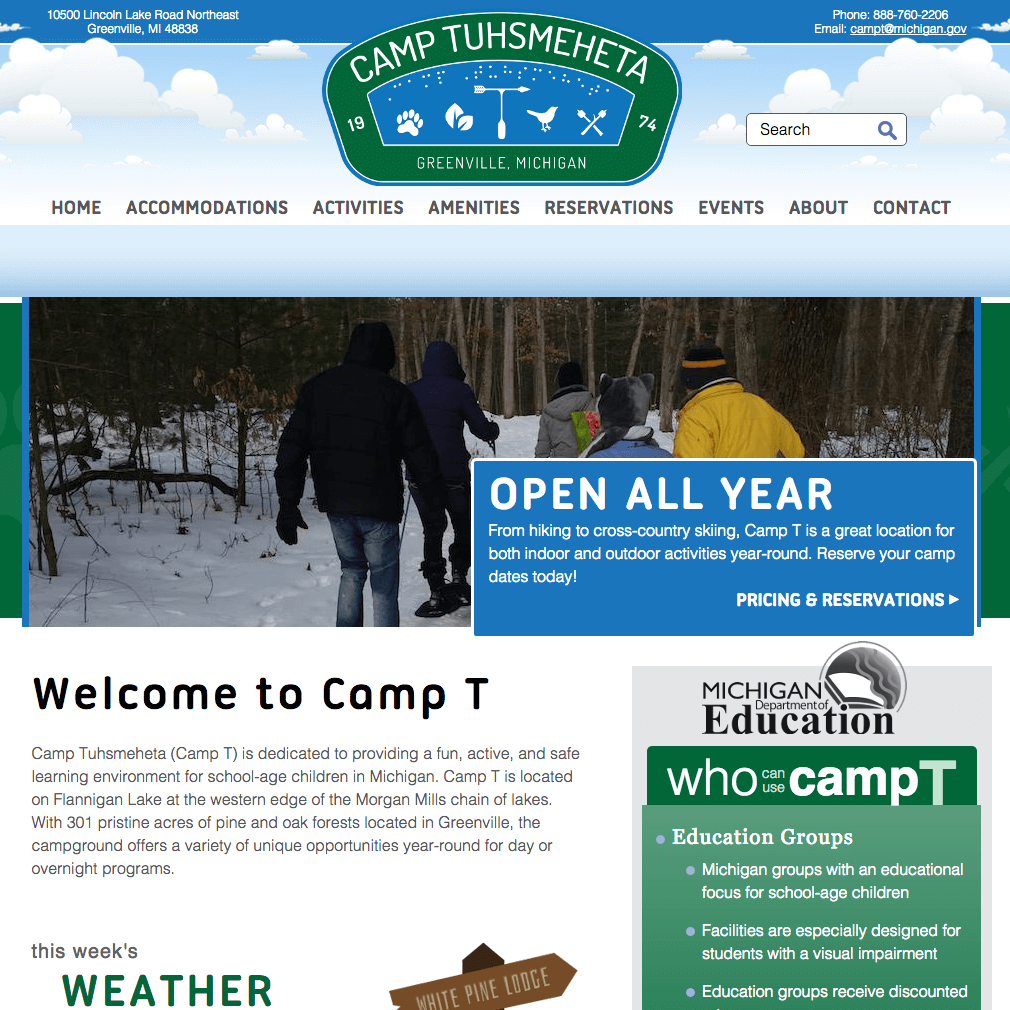 Camp Tuhsmeheta Website Home Page